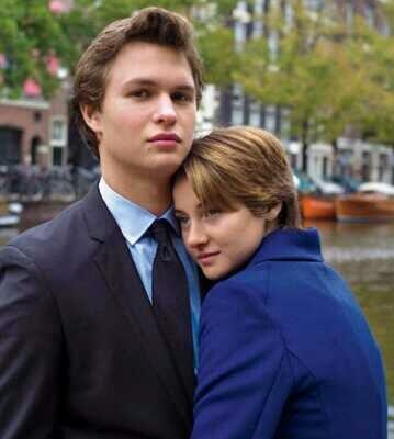 Elgort and Woodley as Augustus and Hazel