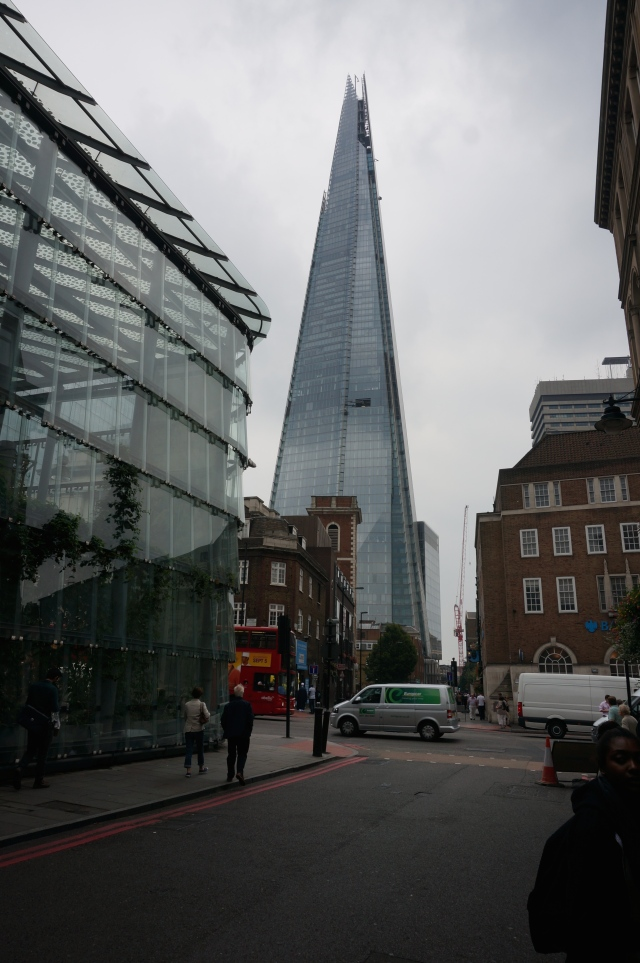 "A massive building referred to as ""The Shard""- as if it was a shard of glass cutting through historic London."
