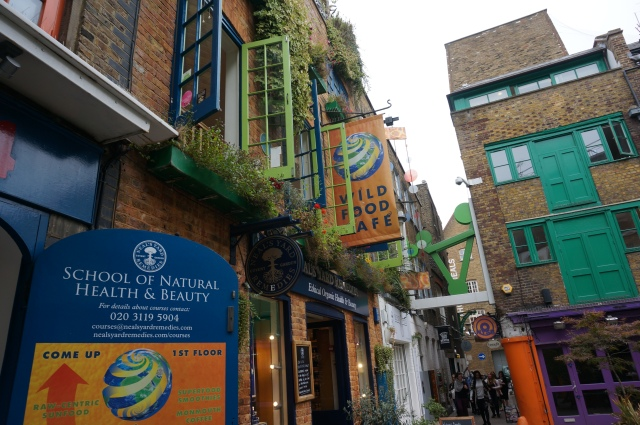 Neil's Yard- an alley way turns into a secret neon cove in Covent Garden.