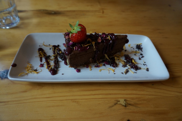 Raw chocolate torte from Wild Food Cafe.
