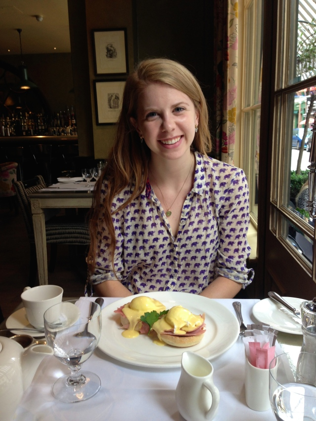 Tea and eggs Benedict at the Covent Garden Hotel.
