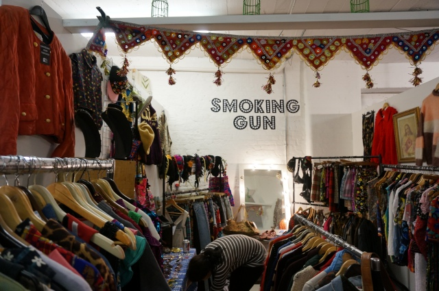 One of the vintage clothing stands.