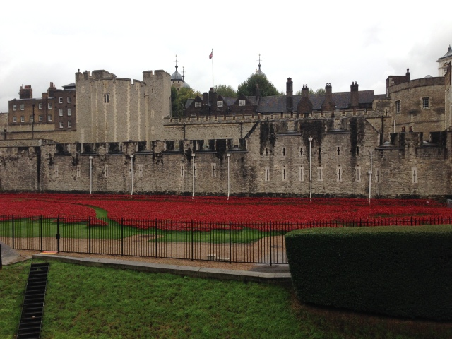 Tower of London with poppies in front of it to commemorate the british lives lost in WWI.