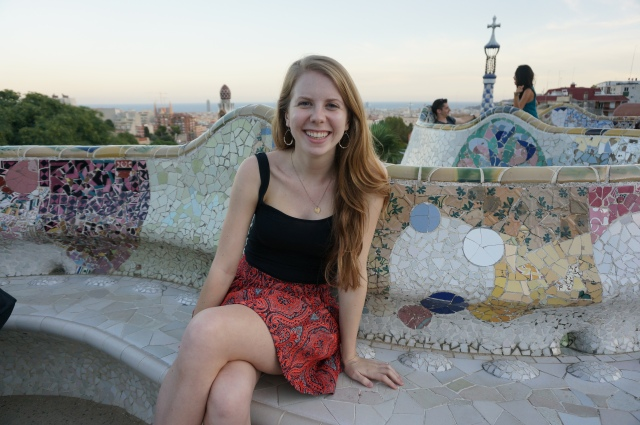 Mosaic bench on the overlook at Parc Guell