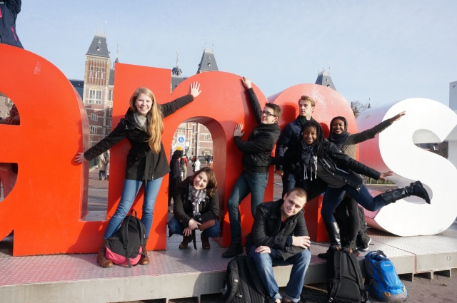 "Me and my friends in front of the ""I (Am)sterdam"" sign."